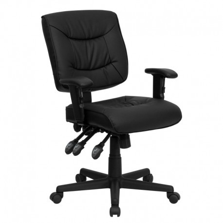 MFO Mid-Back Black Leather Multi-Functional Task Chair with Height Adjustable Arms