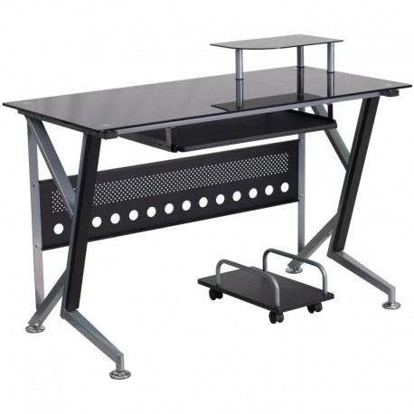 MFO Black Glass Computer Desk with Pull-Out Keyboard Tray and CPU Cart