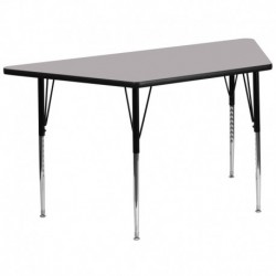 MFO 30''W x 60''L Trapezoid Activity Table with Grey Thermal Fused Laminate Top and Standard Height Adjustable Legs