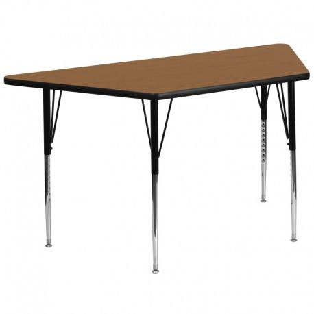 MFO 30''W x 60''L Trapezoid Activity Table with Oak Thermal Fused Laminate Top and Standard Height Adjustable Legs