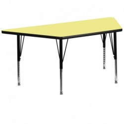 MFO 30''W x 60''L Trapezoid Activity Table with Yellow Thermal Fused Laminate Top and Height Adjustable Pre-School Legs