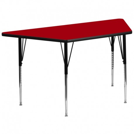 MFO 30''W x 60''L Trapezoid Activity Table with Red Thermal Fused Laminate Top and Standard Height Adjustable Legs