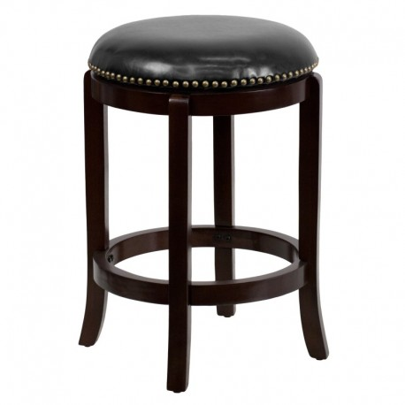 MFO 24'' Backless Cappuccino Wood Counter Height Stool with Black Leather Swivel Seat