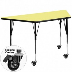 MFO Mobile 30''W x 60''L Trapezoid Activity Table with Yellow Thermal Fused Laminate Top and Standard Height Adjustable Legs