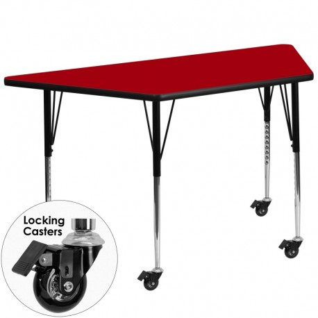MFO Mobile 30''W x 60''L Trapezoid Activity Table with Red Thermal Fused Laminate Top and Standard Height Adjustable Legs