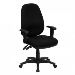 MFO High Back Black Fabric Ergonomic Computer Chair with Height Adjustable Arms
