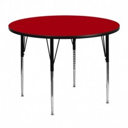 MFO 48'' Round Activity Table with Red Thermal Fused Laminate Top and Standard Height Adjustable Legs