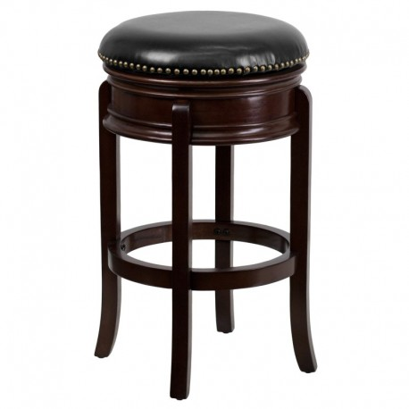 MFO 29'' Backless Cappuccino Wood Bar Stool with Black Leather Swivel Seat