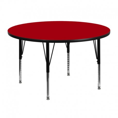 MFO 48'' Round Activity Table with Red Thermal Fused Laminate Top and Height Adjustable Pre-School Legs