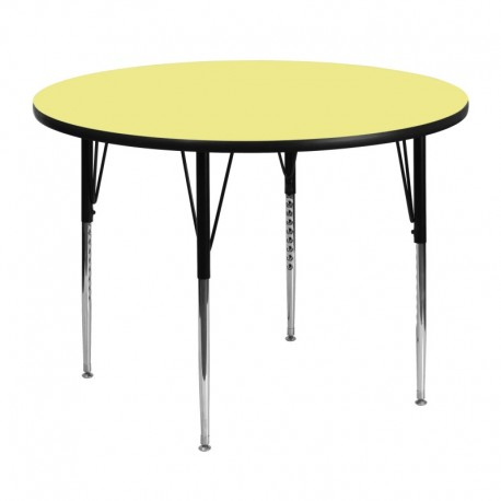 MFO 48'' Round Activity Table with Yellow Thermal Fused Laminate Top and Standard Height Adjustable Legs