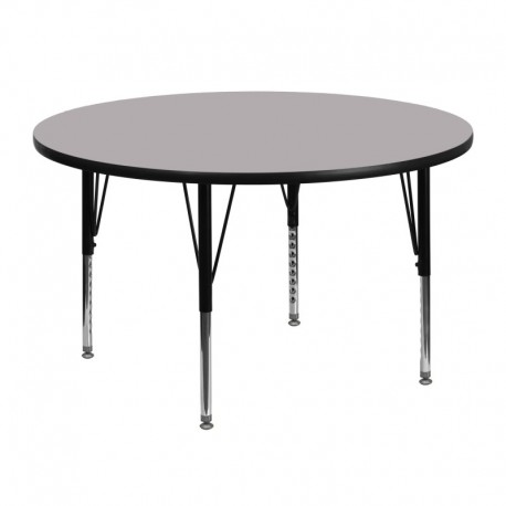 MFO 48'' Round Activity Table with Grey Thermal Fused Laminate Top and Height Adjustable Pre-School Legs
