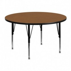 MFO 48'' Round Activity Table with Oak Thermal Fused Laminate Top and Height Adjustable Pre-School Legs
