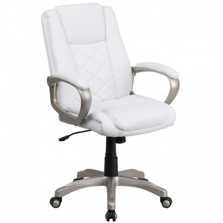 MFO High Back White Leather Executive Office Chair with Gold Nylon Base