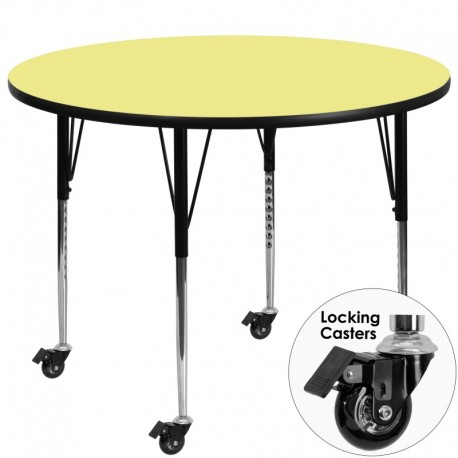 MFO Mobile 48'' Round Activity Table with Yellow Thermal Fused Laminate Top and Standard Height Adjustable Legs