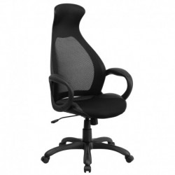 MFO High Back Executive Black Mesh Chair with Leather Inset Seat