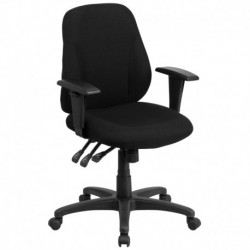 MFO Mid-Back Black Fabric Multi-Functional Ergonomic Chair with Height Adjustable Arms with Height Adjustable Arms