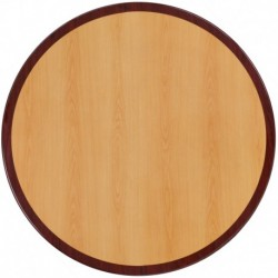 MFO 48'' Round Two-Tone Resin Cherry and Mahogany Table Top