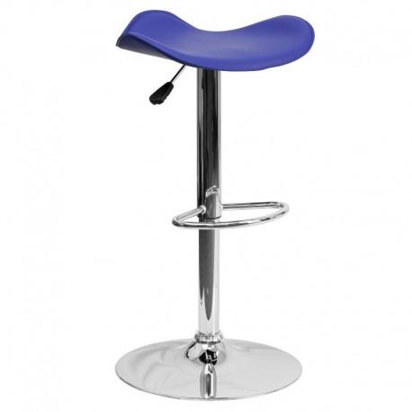 MFO Contemporary Blue Vinyl Adjustable Height Bar Stool with Chrome Base