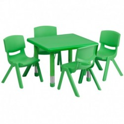 MFO 24'' Square Adjustable Green Plastic Activity Table Set with 4 School Stack Chairs