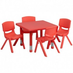 MFO 24'' Square Adjustable Red Plastic Activity Table Set with 4 School Stack Chairs