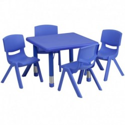 MFO 24'' Square Adjustable Blue Plastic Activity Table Set with 4 School Stack Chairs