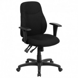 MFO Mid-Back Black Fabric Multi-Functional Ergonomic Chair with Height Adjustable Arms