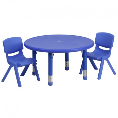 MFO 33'' Round Adjustable Blue Plastic Activity Table Set with 2 School Stack Chairs