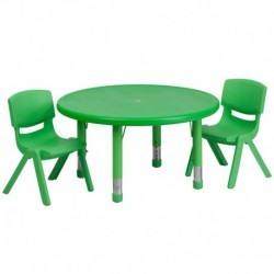 MFO 33'' Round Adjustable Green Plastic Activity Table Set with 2 School Stack Chairs