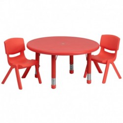 MFO 33'' Round Adjustable Red Plastic Activity Table Set with 2 School Stack Chairs