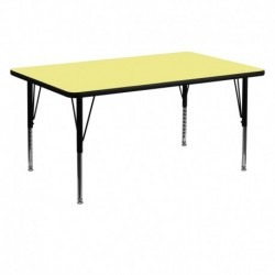 MFO 30''W x 60''L Rectangular Activity Table with Yellow Thermal Fused Laminate Top and Height Adjustable Pre-School Legs