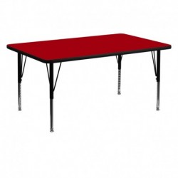 MFO 30''W x 60''L Rectangular Activity Table with Red Thermal Fused Laminate Top and Height Adjustable Pre-School Legs
