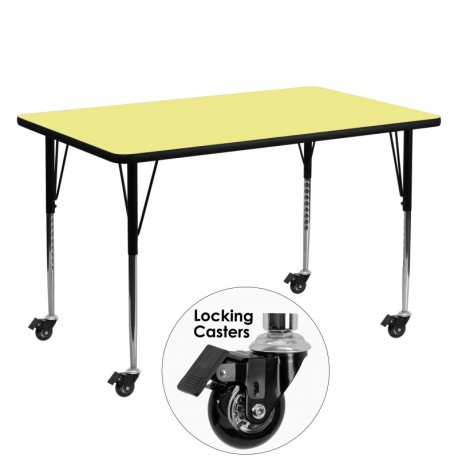 MFO Mobile 30''W x 60''L Rectangular Activity Table with Yellow Thermal Fused Laminate Top and Standard Height Adjustable Legs