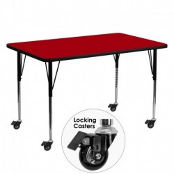 MFO Mobile 30''W x 60''L Rectangular Activity Table with Red Thermal Fused Laminate Top and Standard Height Adjustable Legs