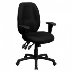MFO High Back Black Fabric Multi-Functional Ergonomic Task Chair with Arms