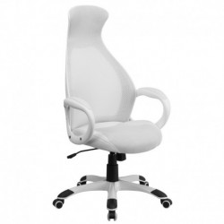 MFO High Back Executive White Mesh Chair with Leather Inset Seat
