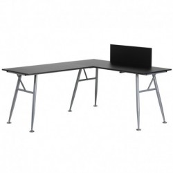 MFO Black Laminate L-Shape Computer Desk with Silver Frame Finish