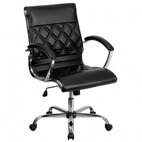 MFO Mid-Back Designer Black Leather Executive Office Chair with Chrome Base
