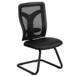 MFO Galaxy Black Mesh Side Chair with Leather Seat and Adjustable Lumbar Support