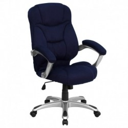 MFO High Back Navy Blue Microfiber Upholstered Contemporary Office Chair
