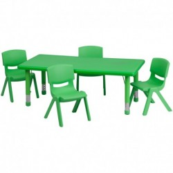 MFO 24''W x 48''L Adjustable Rectangular Green Plastic Activity Table Set with 4 School Stack Chairs
