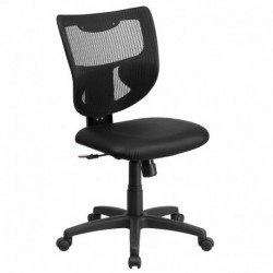 MFO Galaxy Mid-Back Designer Back Task Chair with Padded Leather Seat