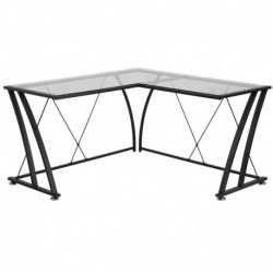 MFO Glass L-Shape Computer Desk with Black Frame Finish