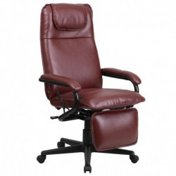 MFO High Back Burgundy Leather Executive Reclining Office Chair