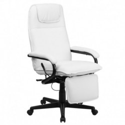 MFO High Back White Leather Executive Reclining Office Chair