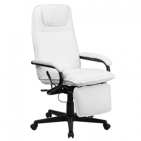 white leather executive chair. MFO High Back White Leather Executive Reclining Office Chair P