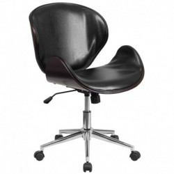 MFO Mid-Back Mahogany Wood Swivel Conference Chair in Black Leather
