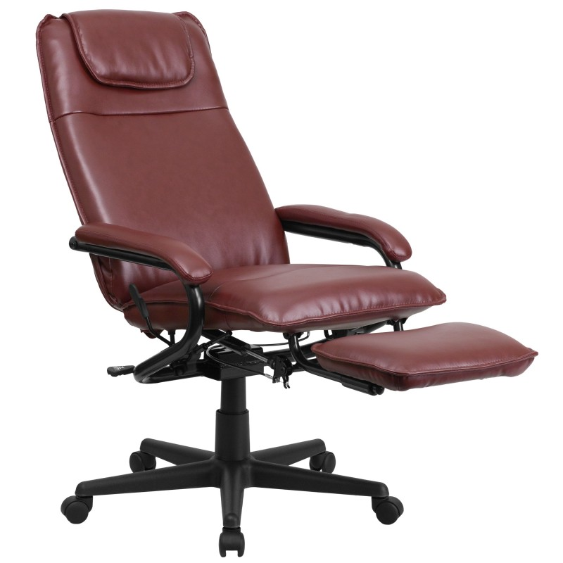 High Back Burgundy Leather Executive Reclining Office Chair
