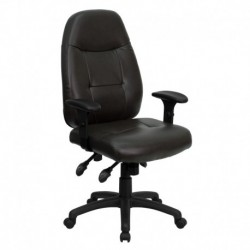 MFO High Back Espresso Brown Leather Executive Office Chair