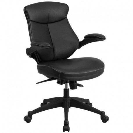 MFO Mid-Back Black Leather Office Chair with Back Angle Adjustment and Flip-Up Arms
