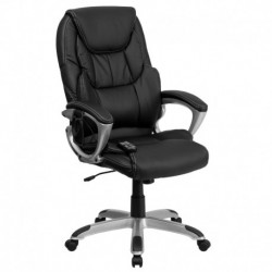 MFO High Back Massaging Black Leather Executive Office Chair with Silver Base